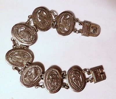 """Egyptian Antique Sterling Silver 7 Panel Bracelet Isis Sphinx Scarab Ankh 7.5"""""""