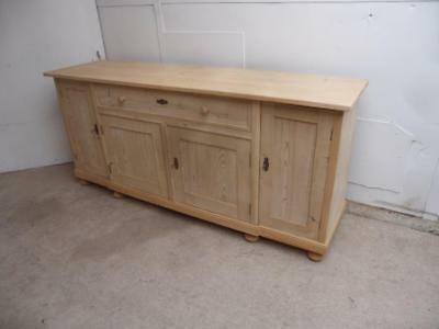 A Super Antique/Old Pine Large 4 Door Kitchen Dresser Base to Wax/Paint