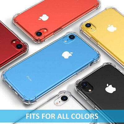 For Apple iPhone XR XS Max X 8 Slim Clear Transparent Shockproof Hard Case Cover