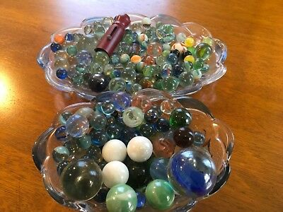 Vintage Metal Marble Shooter & Large Lot Of Marbles Look At Photos