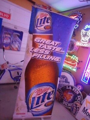 Neat Miller Lite Large Banner Beer Sign Comes With Stand And Travel Kit Tailgate