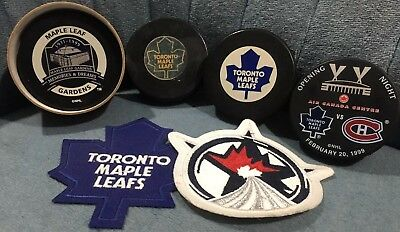 4 Maple Leafs Pucks & 2 Patches - Maple Leaf Gardens - Air Canada - All-star