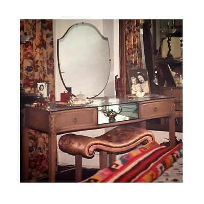 Vintage Art Deco 1920s Oak Vanity Mirrored Dressing Table matching Bench Shabby