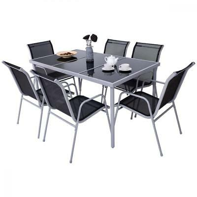 Costway Patio Furniture 7 Piece Steel Table Chairs Dining Set Outdoor Glass Top