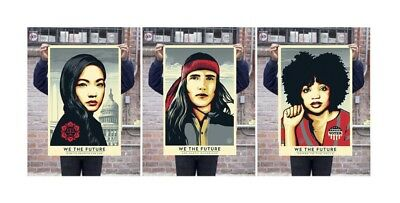 Shepard Fairey We The Future Signed Art People Obey Giant Large Poster Set 24x36