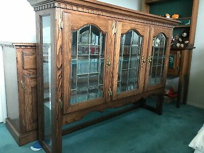 Oak China Cabinet, Sideboard, Drawers, Glass front, lights - LOCAL PICKUP ONLY