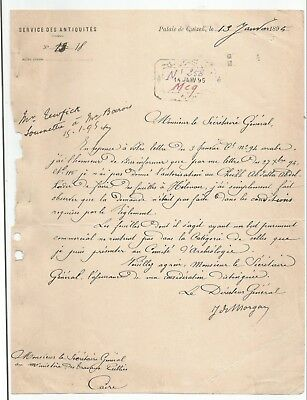 EGYPT ÄGYPTEN 1895 RARE LETTER SIGNED BY EGYPTOLOGIST FRANCE Jacques de Morgan