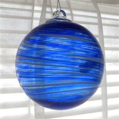 "Hanging Glass Ball 4"" Diameter Blue with Swirls (1) Friendship Ball GB96"