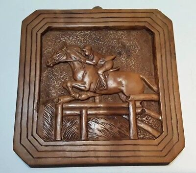 Vintage 1930s Art Deco carved wooden horse Show Jumping plaque,wall hanger