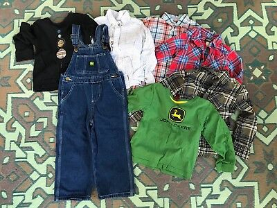 Lot Of Boys 4T Clothes, John Deere Overalls And Flannel Shirts