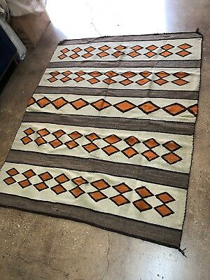 Old! Rare Important Navajo Indian Diamond Pattern Rug Weaving
