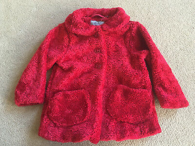BNWT NEXT Girls Red Fleece Cotton Lined Jacket Coat