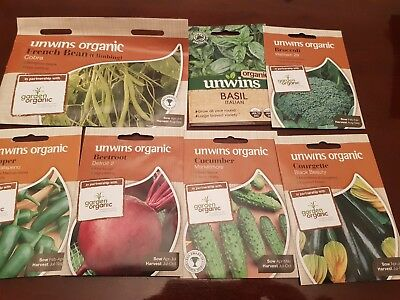 Mixed Organic Vegetable seeds 2019 x7 courgette Beetroot Bean Pepper Broccoli