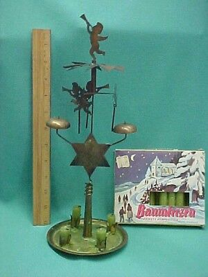 Vintage Swedish Brass Christmas Candle Holder Spinning Angels and Chimes
