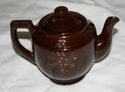 Vintage Hand Painted Japan Brown Glazed Red Clay Teapot Floral Design