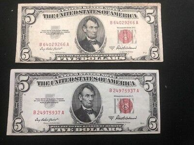 *Lot Of 2* 1953-A $5 FIVE DOLLARS RED SEAL LEGAL TENDER UNITED STATES NOTE