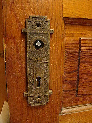 """Antique Gothic Heavy Iron Door Knob Backplate Back Plate 2 1/4"""" X 6 1/2"""""""