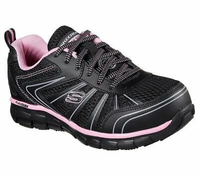 Wide Black Pink Skechers Shoes Women's Work 77207 W Memory Slip Resist Alloy Toe