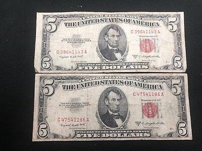 Lot Of 2*$5 1953 B RED Seal US Legal Tender Note Five Dollar United States Bill
