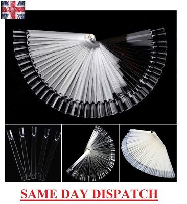 50 x POLISH NAIL ART TIPS CLEAR FALSE POP COLOUR STICKS FAN DISPLAY PRACTICE KIT