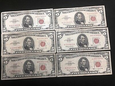 *lot Of 6*STAR 1963 $5 DOLLAR BILL UNITED STATES LEGAL TENDER RED SEAL