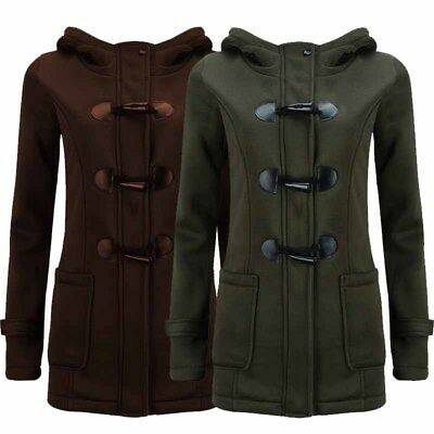 Women's Cotton Coats Hooded Sweater Classic Horn Leather Buckle Jacket Outwear