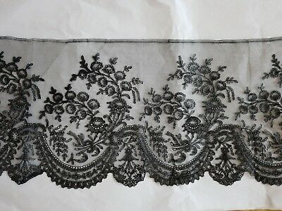 "GORGEOUS ANTIQUE FRENCH CHANTILLY LACE EDGING -2 Yards by12"" GARLANDS OF FLOWERS"