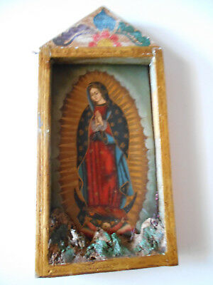 retablo folk art hand painted madonna, out lady of guadalupe