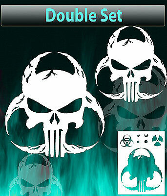 punisher skull biohazard airbrush stencil spray vision template
