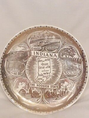 "Vintage Indiana - The Hoosier State Decorative Souvenir 7"" Collector Plate 1960s"