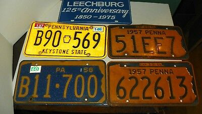 Collection Of 5 Pa. License Plates 1957,1958,1986,leechburg,pa.125Th Anniversary