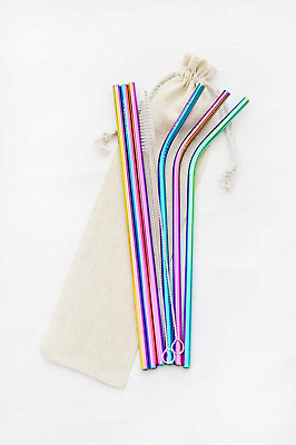 Premium Reusable Stainless Steel Straws by The E Company - 6 Eco Friendly...