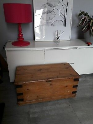 Victorian Pine Chest, Antique Blanket Box, Linen Trunk, Coffee Table, Furniture