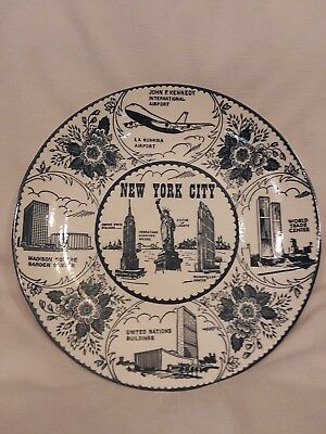 Vintage New York Collectible State Wall plate with iconic buildings