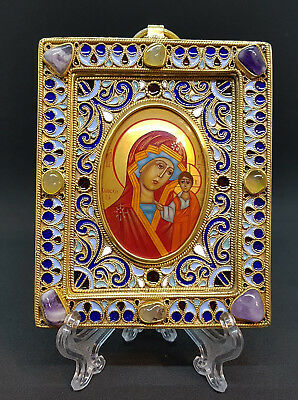 Russia orthodox hand painted icon The Virgin of Kazan. Silver frame.Hallmark