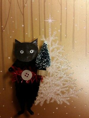 BLACK CAT Vintage Style Chenille Christmas Ornaments - Set of 2