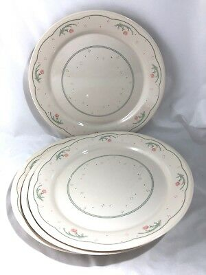"""Set of 4 Dinner Plates 10"""" CALICO ROSE by Corelle"""