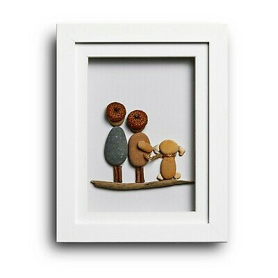 The Two Of Us And The Dog - Handmade Pebble Art Picture - White Frame