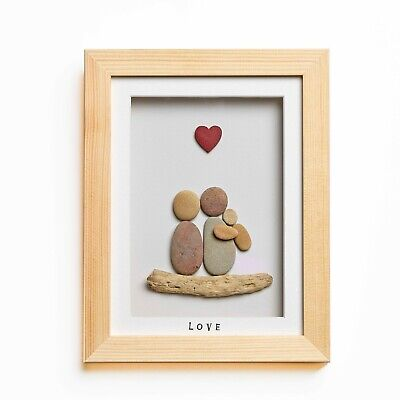 Baby Love - Handmade Pebble Art Picture - Natural Wood Frame