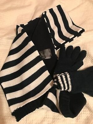 H&M Childrens Knit Stripy Scarf And Gloves Fleece Lined New