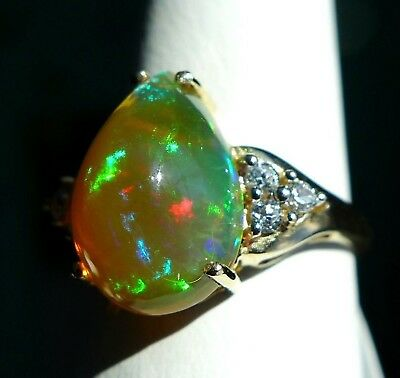 2.76Ct Natural Ethiopian Opal 10K Gold Ring, Size 6, Certificate