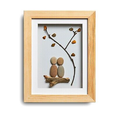 Under the Tree - Handmade Pebble Art Picture - Natural Wood Frame