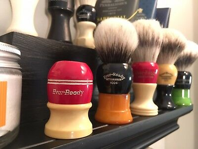 Vintage Shaving Brush, 1950s Ever-Ready 100, Red/Cream...Refurbished Handle ONLY