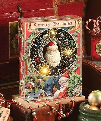 Bethany Lowe Traditional Wreath LED Shadowbox LO6511 New With Santa Lights Up