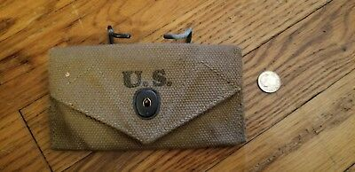 Original WW2 US First Aid Pouch - Scarce Maker - Independent Awning Service 1942