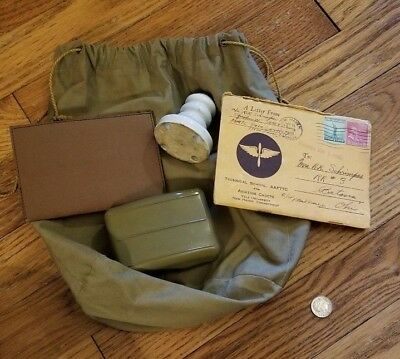 Original WW2 US Dity Bag and Contents Named to R.K. Schrimpes Pilot