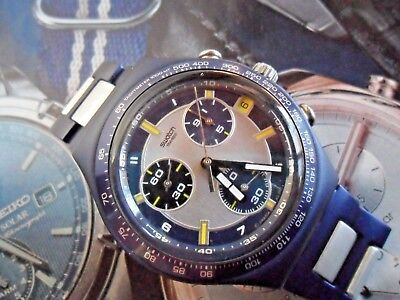 Aluminum Swatch Irony Swiss Chronograph Quartz 39.9 mm Blue & Grey Watch Runs