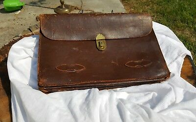 Antique Aged Leather Briftcase/satchel Art Deco 4 Compartments