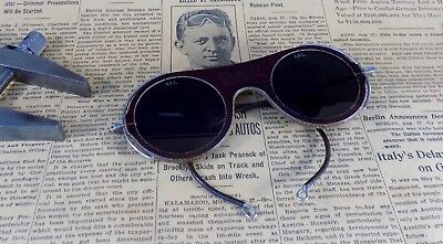 "Vintage  ""Oxweld"" Welding Safety Glasses, Dark Green Tint; UNUSUAL; Steampunk"