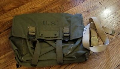 Original WW2 US Army Air Force Pilots Musette Bag & Belt Laundry Stamp NAMED